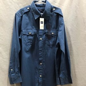 Gap Kids Boys Blue Button Up Shirt-Size L